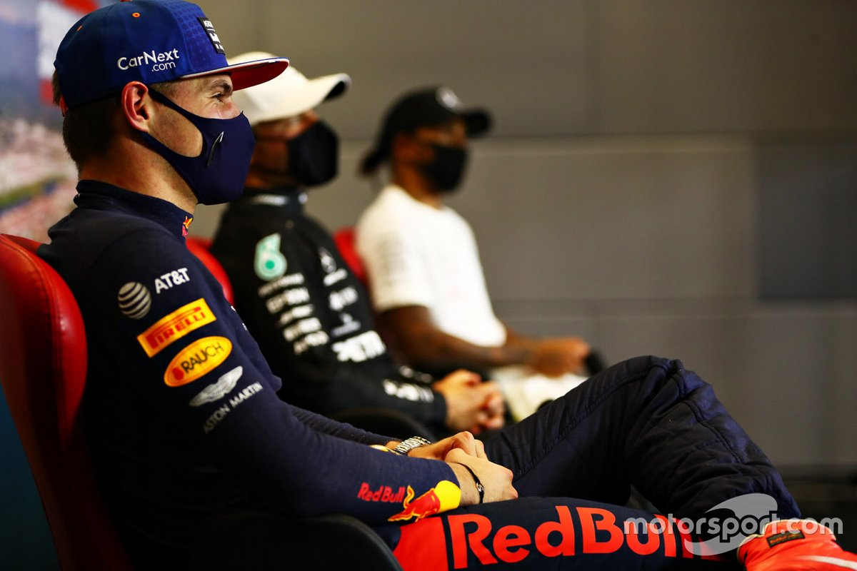 Max Verstappen, Red Bull Racing, Valtteri Bottas, Mercedes-AMG F1 and Lewis Hamilton, Mercedes-AMG F1 in the press conference