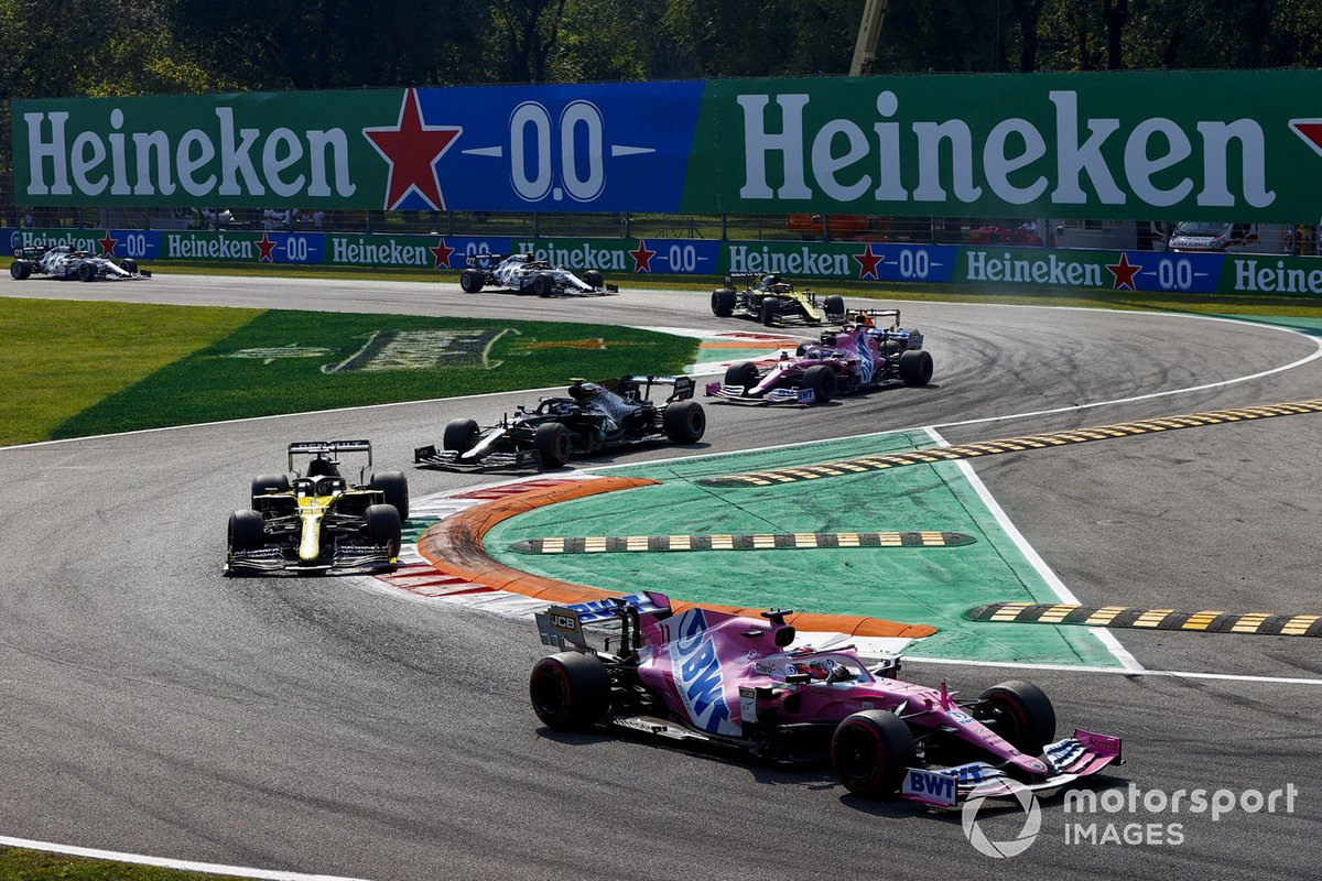 Sergio Pérez, Racing Point RP20, Daniel Ricciardo, Renault F1 Team R.S.20, Valtteri Bottas, Mercedes F1 W11
