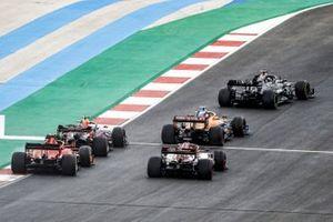 Lewis Hamilton, Mercedes F1 W11, Lando Norris, McLaren MCL35, Alex Albon, Red Bull Racing RB16, Kimi Raikkonen, Alfa Romeo Racing C39, and Charles Leclerc, Ferrari SF1000
