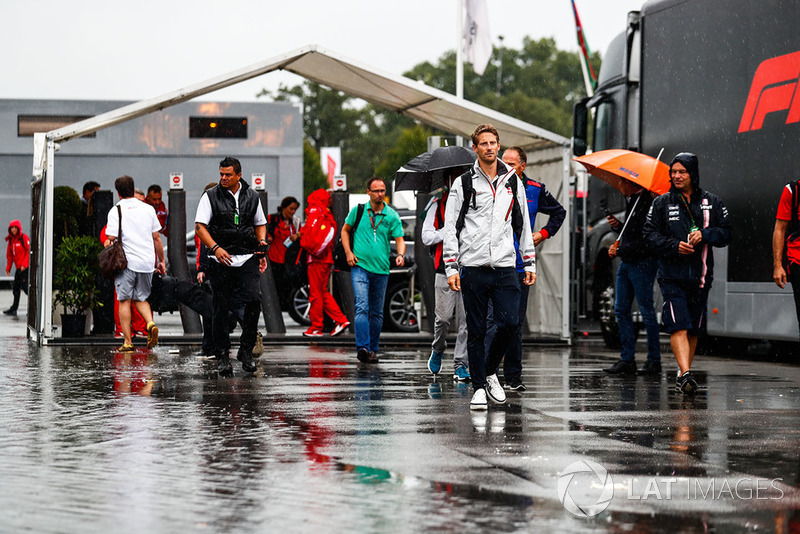 Romain Grosjean, Haas F1 Team, arrives in the paddock