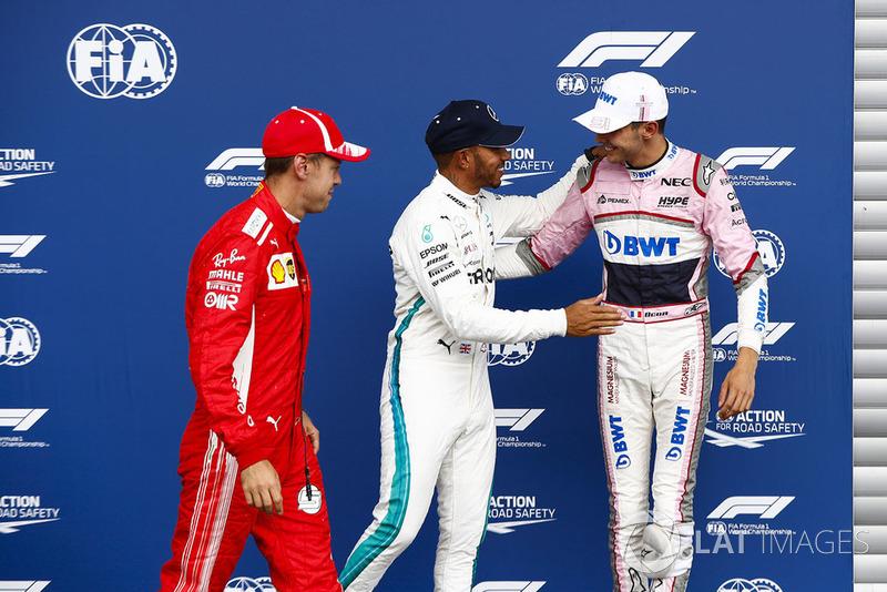 Sebastian Vettel, Ferrari, Esteban Ocon, Racing Point Force India VJM1, Lewis Hamilton, Mercedes AMG F1
