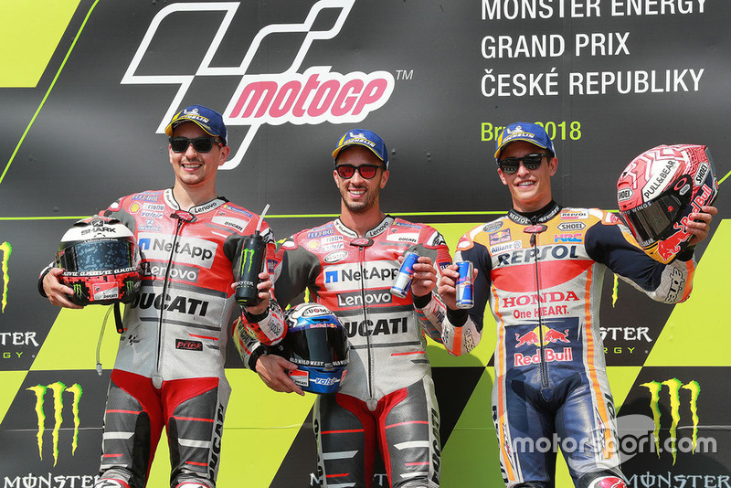 Podium: race winner Andrea Dovizioso, Ducati Team, second place Jorge Lorenzo, Ducati Team, third place Marc Marquez, Repsol Honda Team