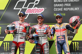 Podium: racewinnaar Andrea Dovizioso, Ducati Team, tweede plaats Jorge Lorenzo, Ducati Team, derde plaats Marc Marquez, Repsol Honda Team