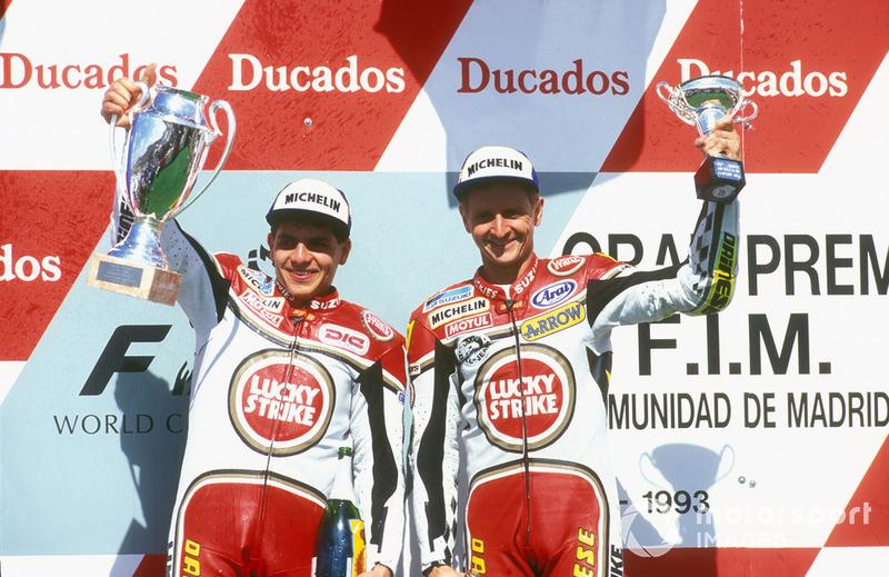 Podio: ganador de la carrera Alex Barros, Suzuki, tercer lugar Kevin Schwantz, Suzuki