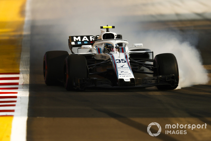 Sergey Sirotkin, Williams FW41, bloquea en la frenada