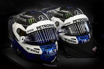 The helmets of Valtteri Bottas, Mercedes AMG F1