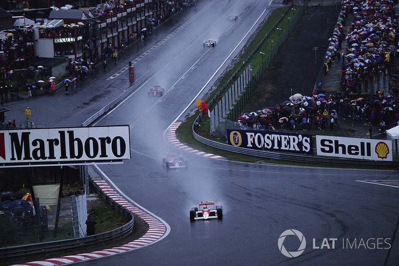 Ayrton Senna, McLaren MP4-5 Honda, leads teammate Alain Prost at Eau Rouge