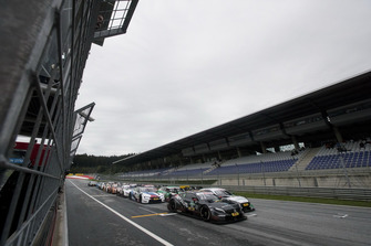 Daniel Juncadella, Mercedes-AMG Team HWA, Mercedes-AMG C63 DTM leads the restart of the race. James Gasperotti