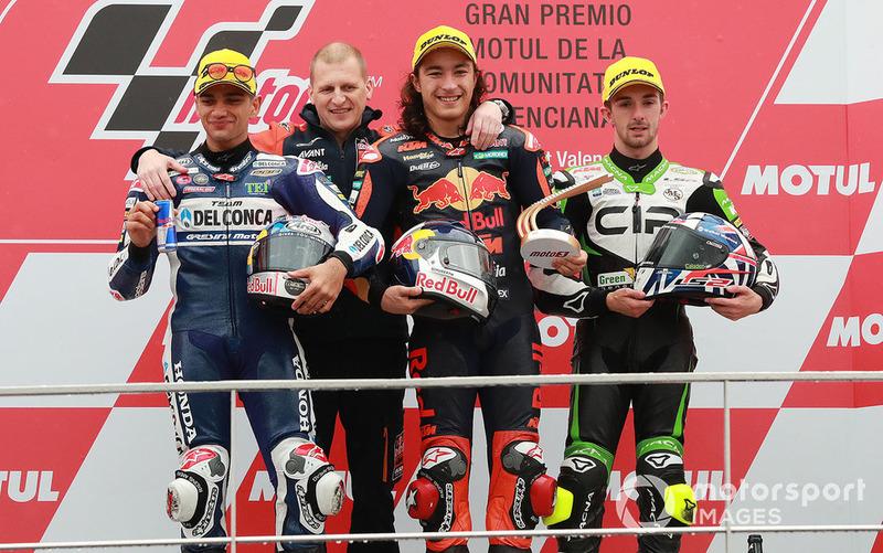 Podio: ganador, Can Oncu, Red Bull KTM Ajo, segundo Jorge Martin, Del Conca Gresini Racing, tercero, John McPhee, CIP Green Power, Aki Ajo, Ajo Motorsport Team Principal