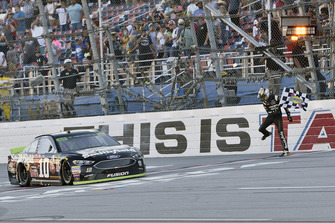 Aric Almirola, Stewart-Haas Racing, Ford Fusion Smithfield Bacon for Life, celebrates after winning in Talladega.