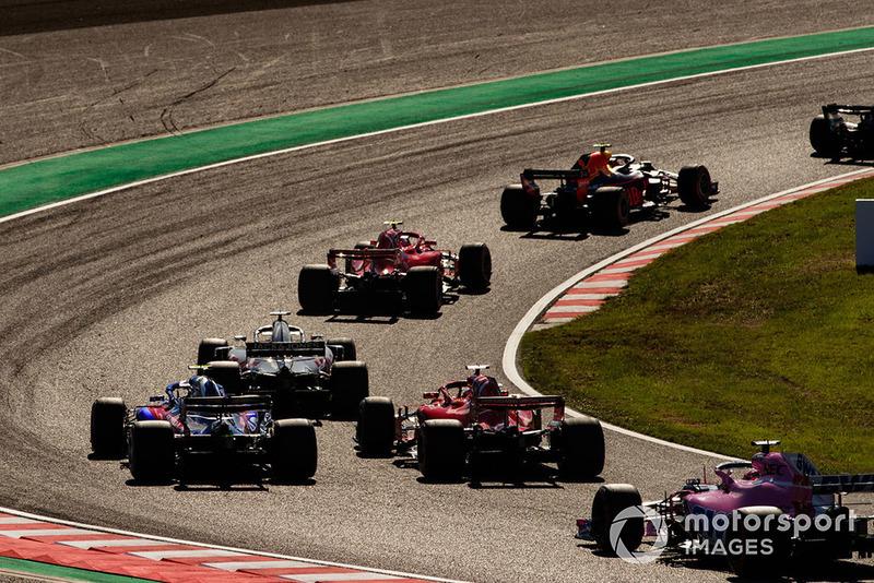 Max Verstappen, Red Bull Racing RB14, Kimi Raikkonen, Ferrari SF71H, Romain Grosjean, Haas F1 Team VF-18, Sebastian Vettel, Ferrari SF71H, Pierre Gasly, Scuderia Toro Rosso STR13, y Brendon Hartley, Toro Rosso STR13.
