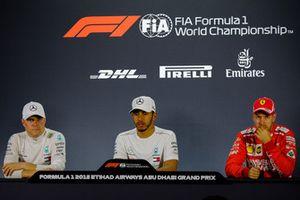 Qualifying press conference: Lewis Hamilton, Mercedes-AMG F1, Valtteri Bottas, Mercedes-AMG F1, Sebastian Vettel, Ferrari