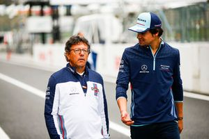 Luca Baldisserri, Engineer, Williams F1, with Lance Stroll, Williams Racing
