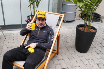 Fernando Alonso, McLaren, takes a drink for RTL