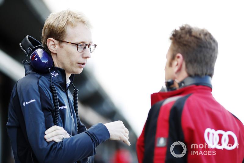 Sylvain Filippi, Managing Director & CTO, Virgin Racing, talks wit Allan McNish, Team Principal, Audi Sport Abt Schaeffler