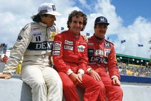 Nelson Piquet, Williams Honda, Alain Prost, McLaren TAG Porsche, Nigel Mansell, Williams Honda, al muretto box