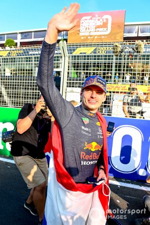 Max Verstappen, Red Bull Racing, 1st position, celebrates with his team after the race