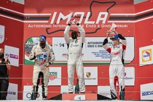 Il podio di Gara 2 della Silver Cup: Davide Scannicchio, ZRS Motorsport, Massimiliano Montagnese, Team Malucelli, Marco Parisini, Team Malucelli