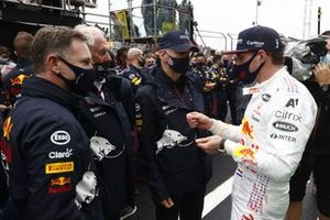 Christian Horner, Team Principal, Red Bull Racing, Helmut Marko, Consultant, Red Bull Racing, and Adrian Newey, Chief Technical Officer, Red Bull Racing, speak with Max Verstappen, Red Bull Racing, 2nd position, after the race