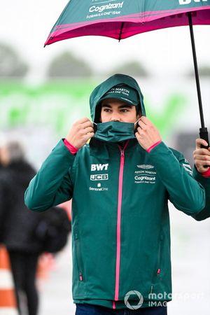 Lance Stroll, Aston Martin arrive au circuit