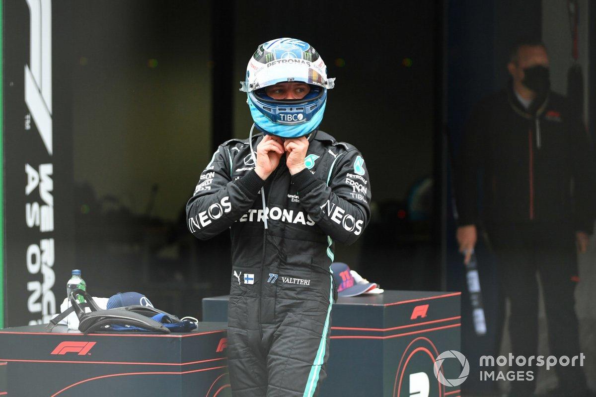 Valtteri Bottas, Mercedes, 1a posizione, nel Parc Ferme
