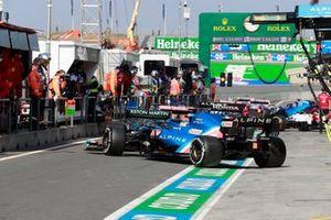 Fernando Alonso, Alpine A521, in the pit lane