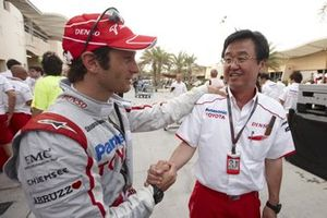 Jarno Trull,Toyota TF109 with Tadashi Yamashina, Vice Chairman, Toyota