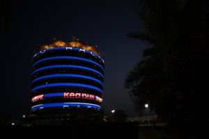 The Sakhir Tower is lit up in the colours and logo of the Red Bull Racing team