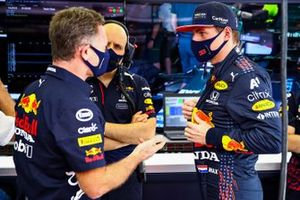 Max Verstappen, Red Bull Racing met Christian Horner, teambaas Red Bull Racing