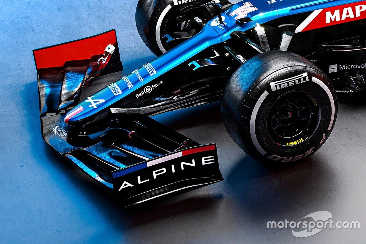 Detalle del alerón delantero del Alpine A521