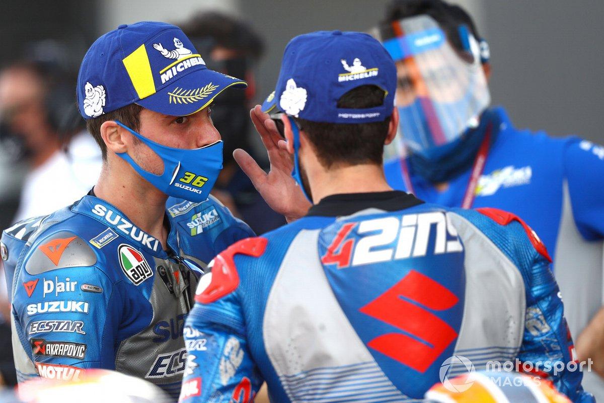 Ganador Joan Mir, Team Suzuki MotoGP, segundo lugar Alex Rins, Team Suzuki MotoGP