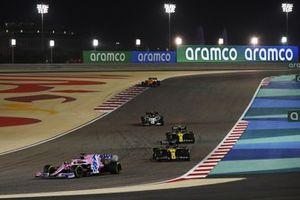 Sergio Perez, Racing Point RP20, Daniel Ricciardo, Renault F1 Team R.S.20, Esteban Ocon, Renault F1 Team R.S.20, and Pierre Gasly, AlphaTauri AT01