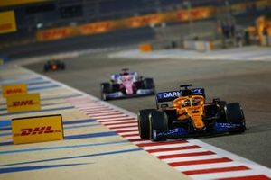 Carlos Sainz Jr., McLaren MCL35, Sergio Perez, Racing Point RP20