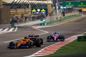 Lando Norris, McLaren MCL35, Alex Albon, Red Bull Racing RB16, and Sergio Perez, Racing Point RP20