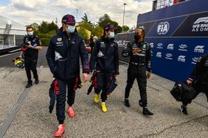 Top three Qualifiers Max Verstappen, Red Bull Racing, Sergio Perez, Red Bull Racing, and pole man Lewis Hamilton, Mercedes