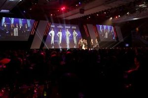 BRDC Young Driver of the Year nominees Enaam Ahmed, Jamie Chadwick, Johnathan Hoggard and Ayrton Simmons on stage for the