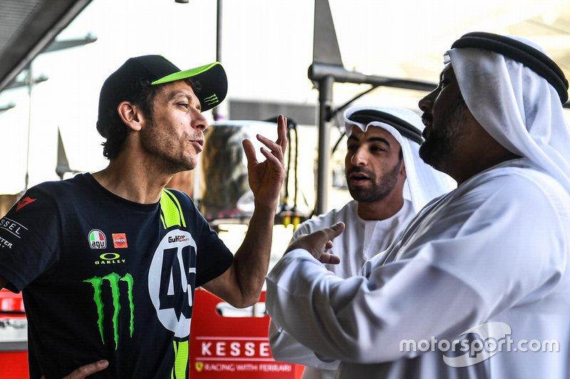 Valentino Rossi with Al Tareq Al Ameri, Yas Marina Circuit CEO and Abdulrahman Al Shamsi, Supply Chain Director