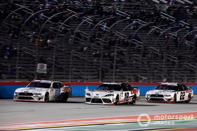 Harrison Burton, Joe Gibbs Racing, Toyota Supra Dex Imaging, Cole Custer, Stewart-Haas Racing, Ford Mustang Thompson Pipe Group, and Austin Cindric, Team Penske, Ford Mustang Discount Tire