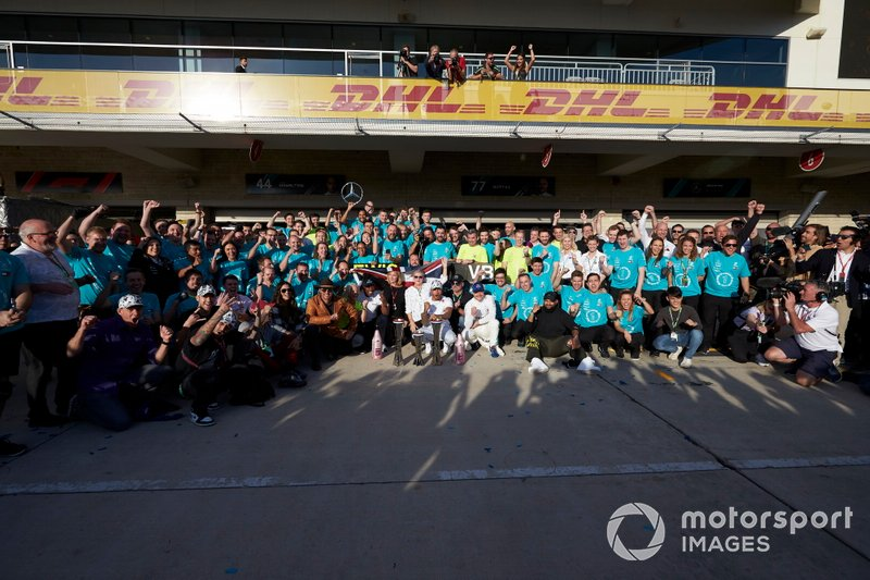 Lewis Hamilton, Mercedes AMG F1, celebrates winning the world championship with colleagues and actor Matthew McConaughey