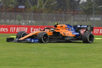 Lando Norris, McLaren MCL34, on the grass