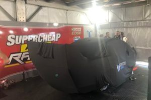The crashed car of Chaz Mostert, Tickford Mustang under covers