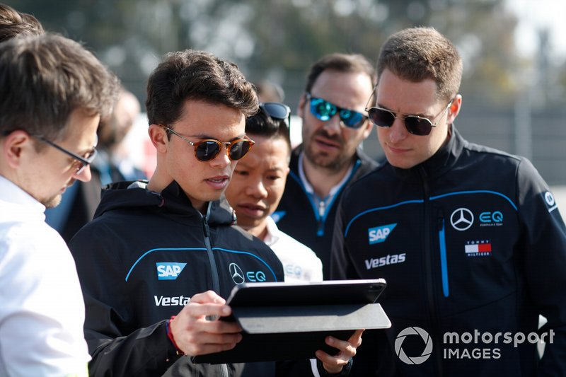 Nyck De Vries, Mercedes Benz EQ, EQ Silver Arrow 01 on his track walk with members of the team