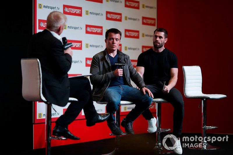 Presenter Alan Hyde interviews Martin Plowman and Kelvin Fletcher on the Autosport stage