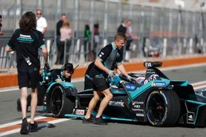 Mechanics push Mitch Evans, Panasonic Jaguar Racing, Jaguar I-Type 4 back into the garage