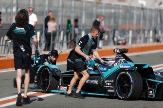 Mechanics push Mitch Evans, Panasonic Jaguar Racing, Jaguar I-Type 4 back into the garage
