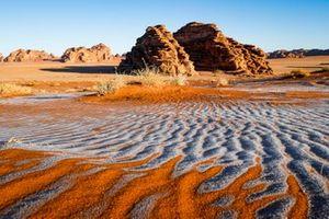 Frozen sand dunes in the desert