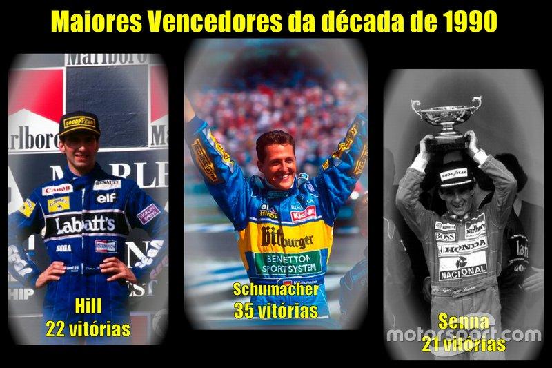 Os maiores vencedores da década de 1990 da Fórmula 1