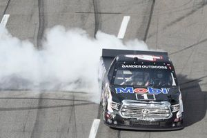 Todd Gilliland, Kyle Busch Motorsports, Toyota Tundra Mobil 1, does a burnout after winning