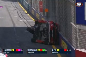 Screenshot of Scott McLaughlin's crashed Ford