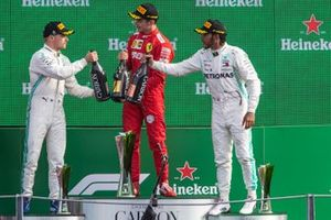 Podium: race winner Charles Leclerc, Ferrari, second place Valtteri Bottas, Mercedes AMG F1, third place Lewis Hamilton, Mercedes AMG F1